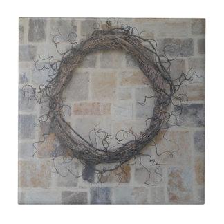 Grapevine Wreath on stone fireplace Ceramic Tiles
