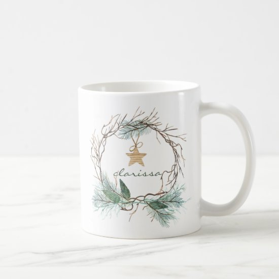 Grapevine Wreath Pine Branches Star Monogram Mug