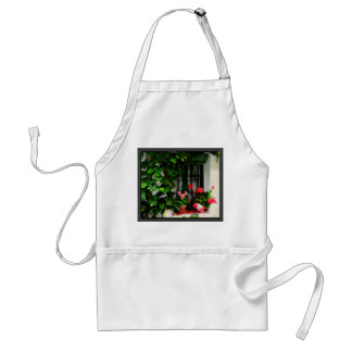 Grapevines and Geraniums Around a Window Adult Apron