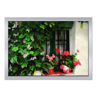 Grapevines and Geraniums Around a Window Card