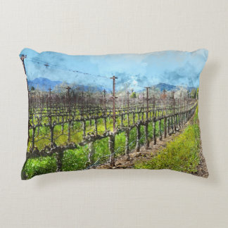 Grapevines in a Row in Napa Valley California Accent Pillow