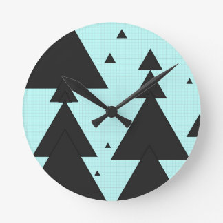 Graph PAPER christmastree Black trifishes Round Wall Clocks
