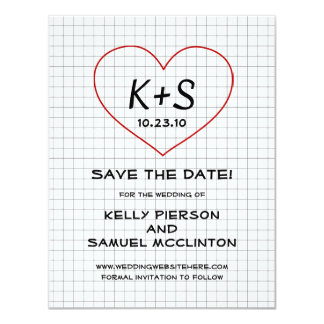 Graph Paper Save the Date Card