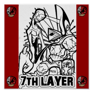 graphic 7th layer skull corners poster