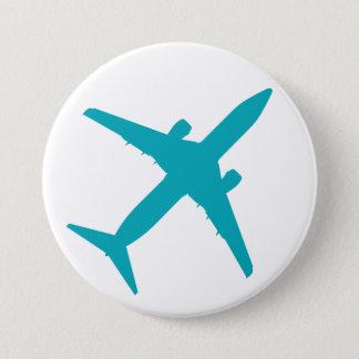 Graphic Airplane in Aqua Blue Button