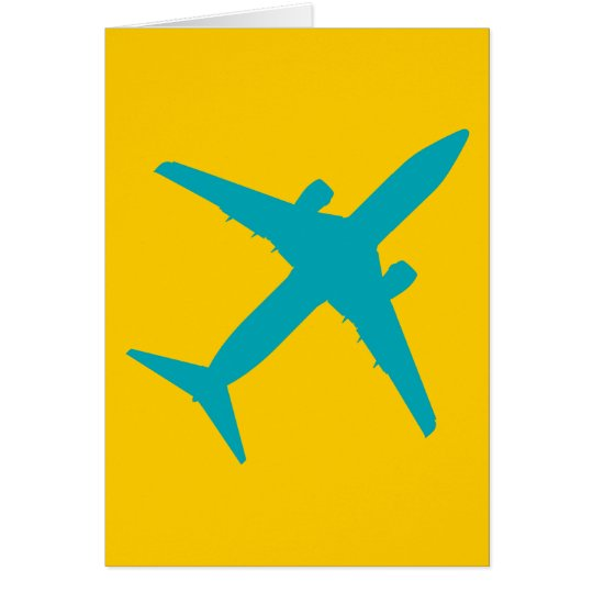 Graphic Airplane in Aqua Blue Card