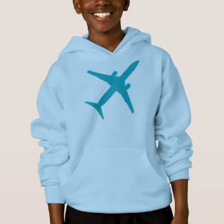 Graphic Airplane in Aqua Blue Hoodie