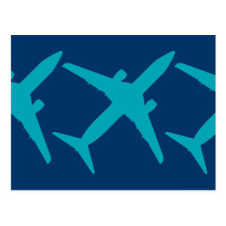 Graphic Airplane in Aqua Blue Postcard