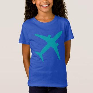 Graphic Airplane in Aqua Blue T-Shirt