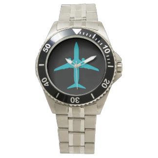 Graphic Airplane in Aqua Blue Watch