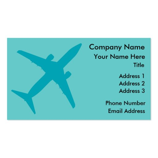 Graphic Airplane in Blue Business Card Templates