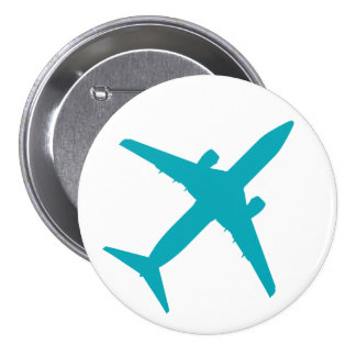 Graphic Airplane in Blue Pinback Button