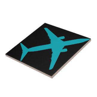 Graphic Airplane in Blue Ceramic Tile