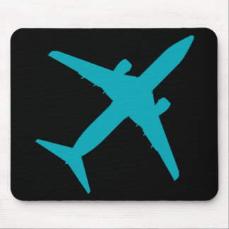 Graphic Airplane in Blue Mouse Pad