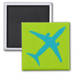 Graphic Airplane in Blue Refrigerator Magnets