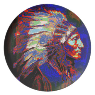 Graphic American Indian Chief Melamine Plate