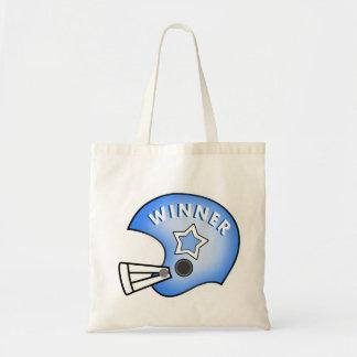 graphic art blue football helmet winner tote bag