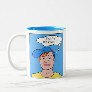 Graphic Art: Guy with Cap & Customisable Message Two-Tone Coffee Mug