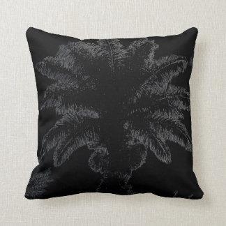Graphic art palm tree on black throw pillow