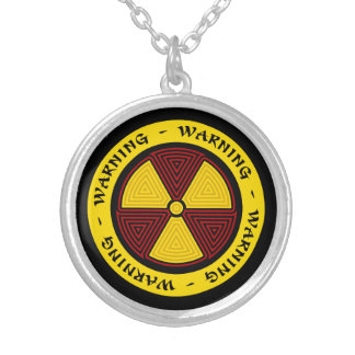 Graphic Art Radiation Warning Silver Plated Necklace
