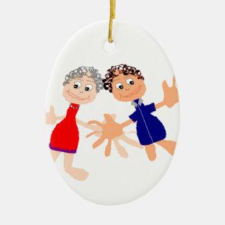 Graphic Art - Two Friends Ceramic Ornament