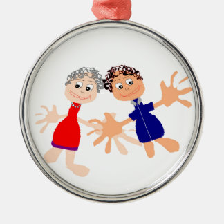 Graphic Art - Two Friends Metal Ornament