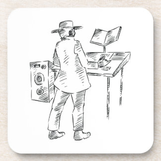 Graphic back view keyboard player sketch beverage coaster