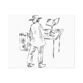 Graphic back view keyboard player sketch canvas print