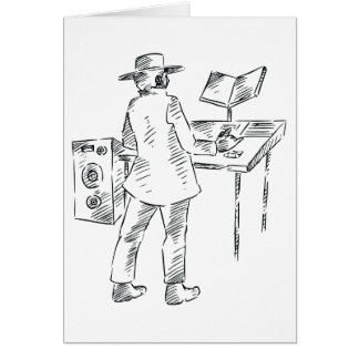 Graphic back view keyboard player sketch card