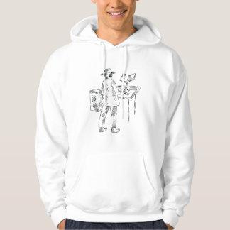 Graphic back view keyboard player sketch hooded sweatshirt