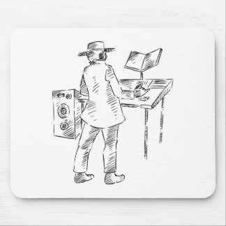 Graphic back view keyboard player sketch mousepad