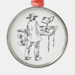 Graphic back view keyboard player sketch christmas ornament