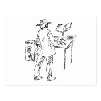Graphic back view keyboard player sketch postcard