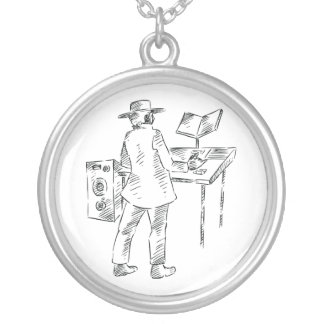 Graphic back view keyboard player sketch silver plated necklace
