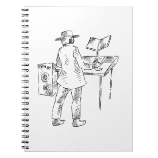 Graphic back view keyboard player sketch spiral notebook