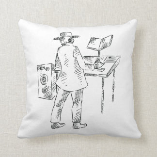 Graphic back view keyboard player sketch throw pillow