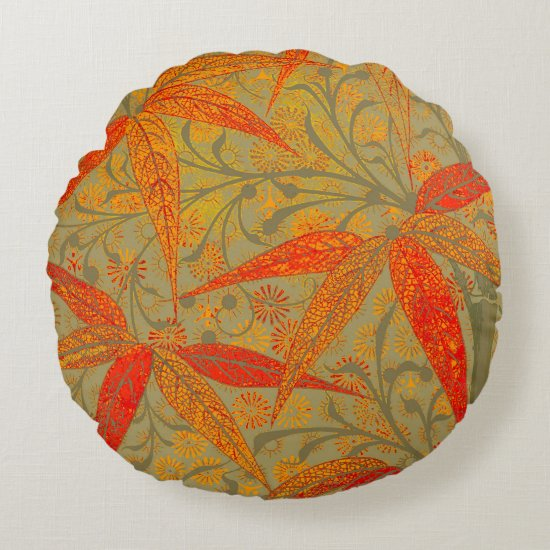 Graphic Bamboo Art Print Nouveau Pattern Round Pillow