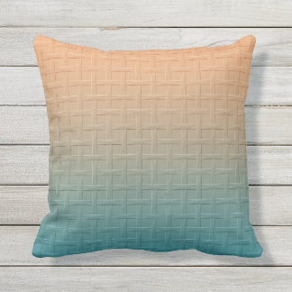 Graphic Basket Weave Pattern Gradient Teal Brown Pillow
