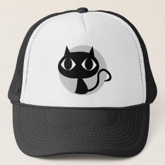 GRAPHIC BLACK CAT ILLUSTRATION TRUCKER HAT