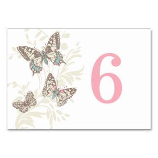 Graphic butterflies pink cream wedding table card