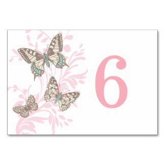 Graphic butterflies pink wedding table number