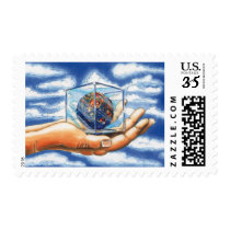 Graphic Cartoon Earth Day Palm of Hand Stamp