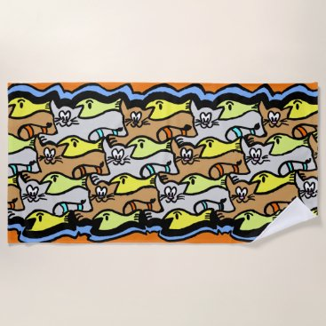 Beach Themed Graphic Cats and Fish Cartoon Beach Towel