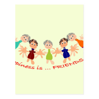 Graphic Characters with Text Happiness_is_Friends Postcard