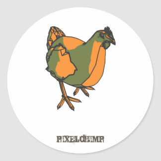 Graphic Chicken Classic Round Sticker