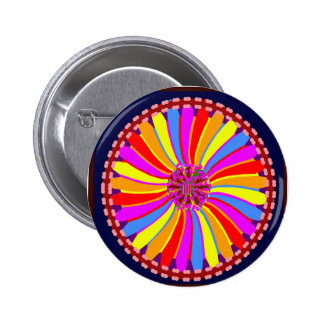 Graphic Colorful Flower Button
