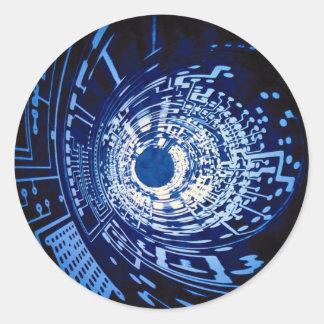 Graphic computer circuit tunnel classic round sticker