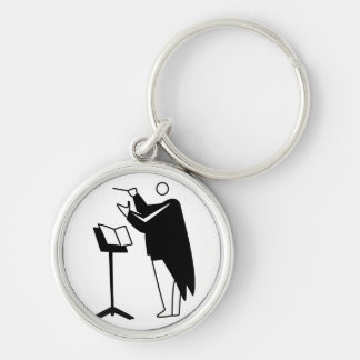 graphic conductor and stand black keychain