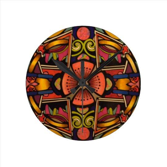 Graphic contemporary vibrant art deco style design round clock