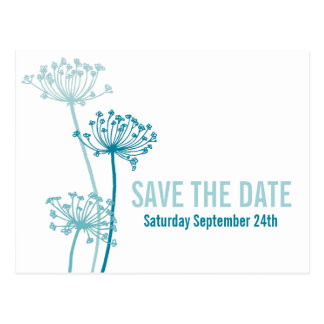 Graphic cows parsley flower teal save the date postcard